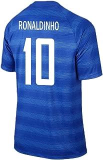 Ronaldinho #10 Brazil Away Soccer Jersey …
