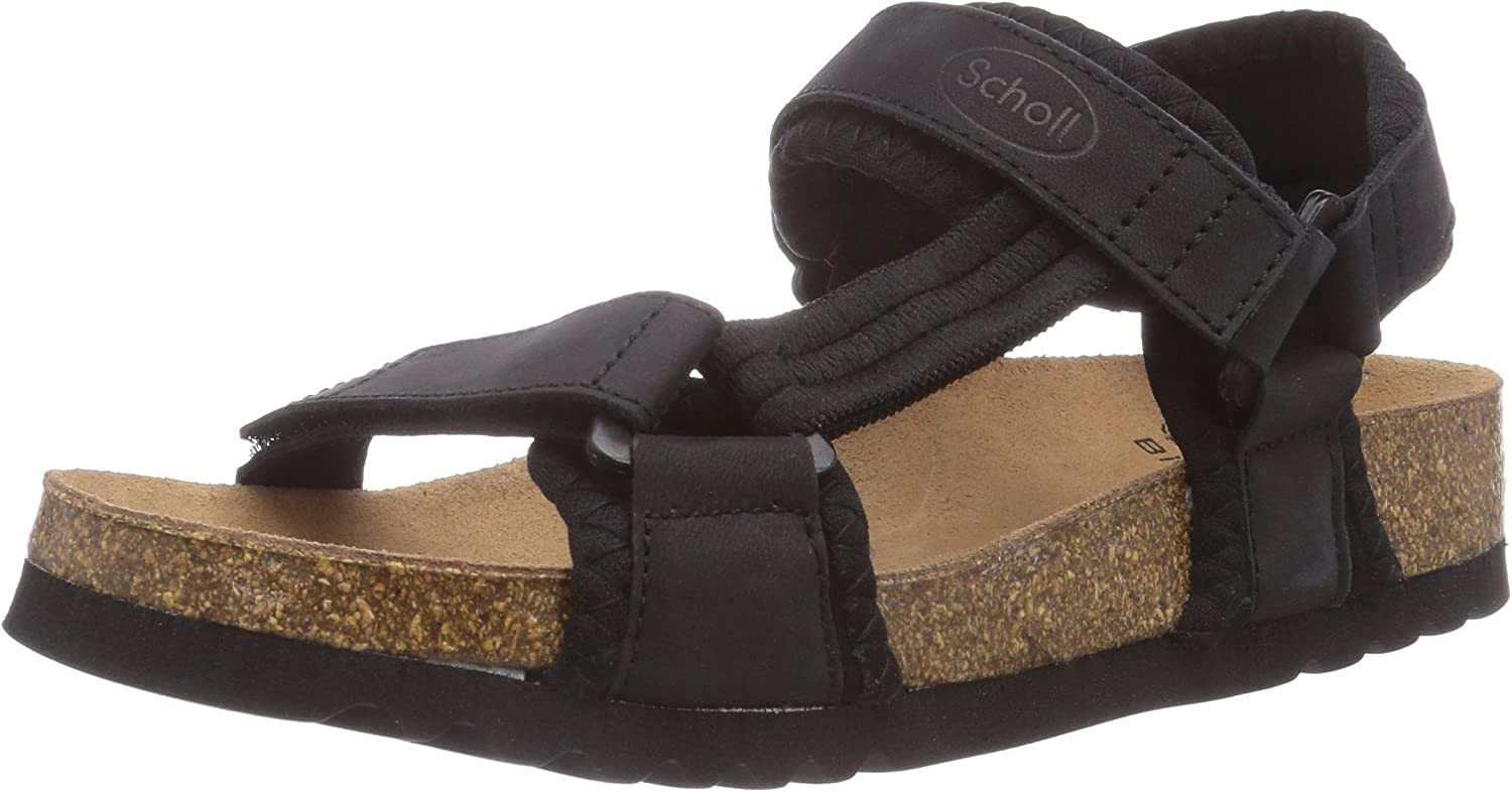 Scholl New Track Black, Unisex Adults' Wedge Heels Sandals