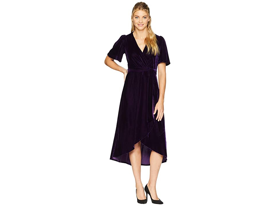 Donna Morgan Velvet Faux Wrap Dress with Flutter Sleeve (Bright Purple) Women