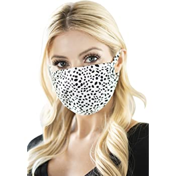 Arched - Cheetah S Black Washable Breathable Print Cloth Mouth Shield Protection Comfy Men Women Reusable Fabric Face Mask Covering with Filter Insert Pocket Unisex
