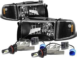 For Dodge Ram 2nd Gen BR/BE Black Housing Amber Corner Headlight & Corner Light + 9007 LED Conversion Kit
