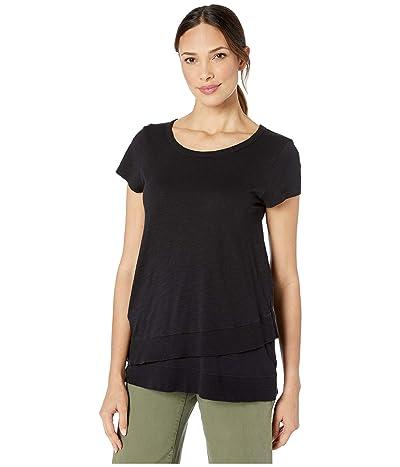 Mod-o-doc Slub Jersey Short Sleeve Asymmetrical Rib Hem Tee (Black) Women
