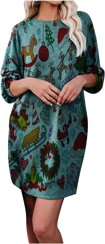 VEMOW Weihnachtskleider Damen Herbst Winter Elegant Strickkleid Weihnachten Langarm Druck Casual Casual Party Mini Kleid Xmas Slim Weihnachtskleidung