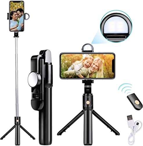 Mobilife Bluetooth Extendable Selfie Stick with Wireless Remote & 2 Level Fill Light for Making TIK Tok, Vlog Videos ...