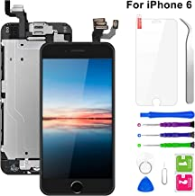 "Pre-Assembled Screen Replacement for iPhone 6 4.7"", LCD Display Touch Digitizer Replacement with Home Button, Front Camera, Proximity Sensor, Ear Speaker and Repair Tool Kits (Black)"
