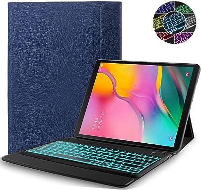RLTech Tastatur H lle f r Samsung Galaxy Tab 10 1 2019  QWERTY Englisch Farben backlit Tastatur Ultrad nn Flip One-Piece Drahtloser Keyboard Ledertasche f r Galaxy Tab T510 T515 10 1 quot  2019  Blau