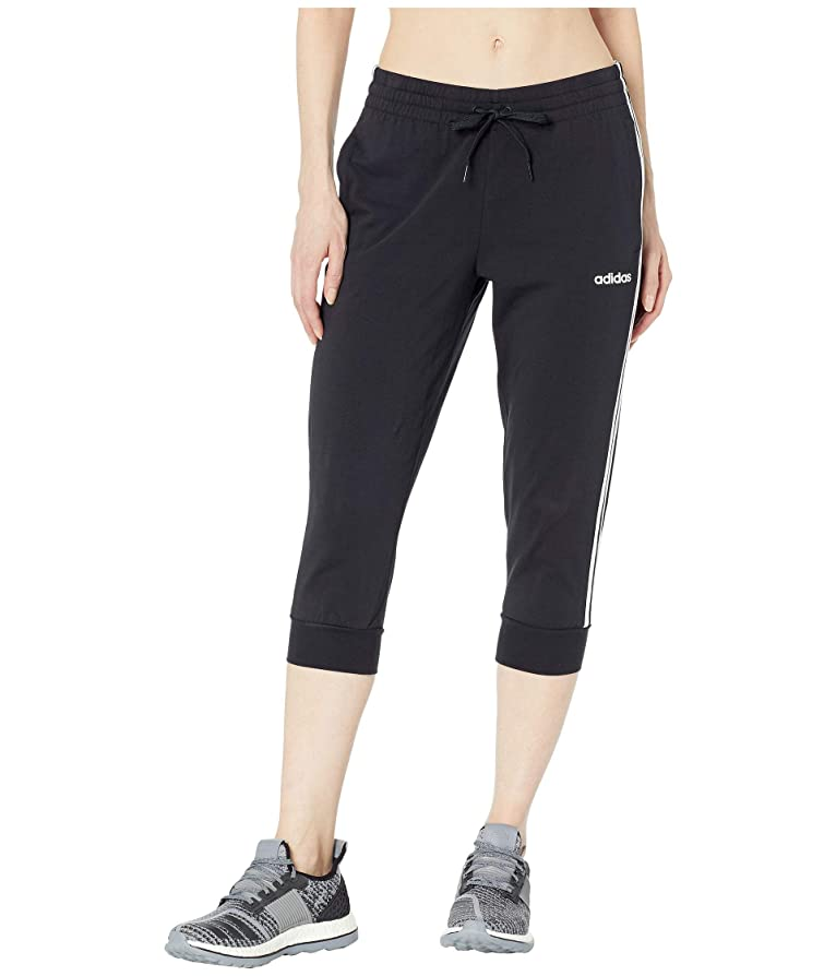 インドアライメントアダルト[adidas(アディダス)] レディースパンツ?ジャージ?レギンス Essential 3-Stripes 3/4 Pants Black/White L [並行輸入品]