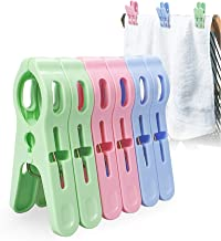 Beach Towel Clips Chair Cruise Holder - Fashion Colors Plastic Quilt Hanging Clamps Jumbo Size 6 Pack for Pool Loungers Cl...