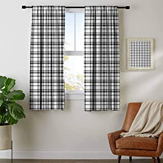 youpinnong Plaid, Curtains Bedroom, Black and White Tartan Pattern Graphic Grid Art Design with Traditional Influences, for Bedroom, W54 x L63 Inch Black White