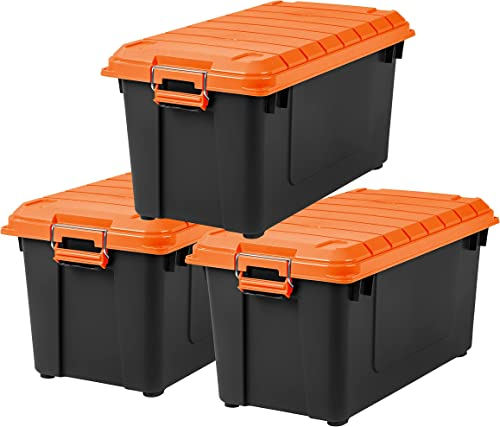 IRIS USA SIA Heavy-Duty Storage Plastic Bin Tote Container with Durable Lid and Secure Latching Buckles Garage and Metal Rack organizing 21 Gal. (3 Pack) Black/Orange