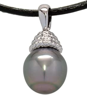 ISAAC WESTMAN Black Tahitian Baroque Cultured Pearl Pendant,10–12.5mm, High Luster, 2mm Black Leather Cord