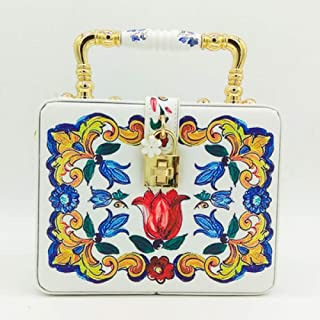 LHKFNU Flower Appliques Gold Evening Box Totes Handbags and Crossbody Bag Wedding Shoulder Bag clutch for party purse