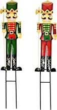 Gift Boutique 2 Nutcracker Christmas Yard Stakes Metal Soldier Outdoor Decorations Lawn Decor for Holiday Signs Pathway Driveway Nutcrackers 23.5