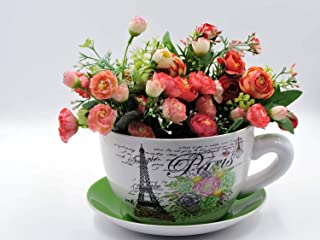 hadaaya gifts & home decor Paris Themed Teacup Shaped Planter with Green Saucer Decorative, Shabby Chic, Floral Design, Ceramic Showpiece