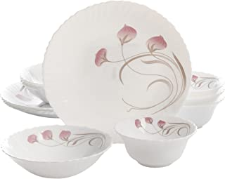 Oster 102003.12RM Annis 12 Piece Scallop Shape Decorated Opal Tempered Glass Dinnerware Set, Multicolor