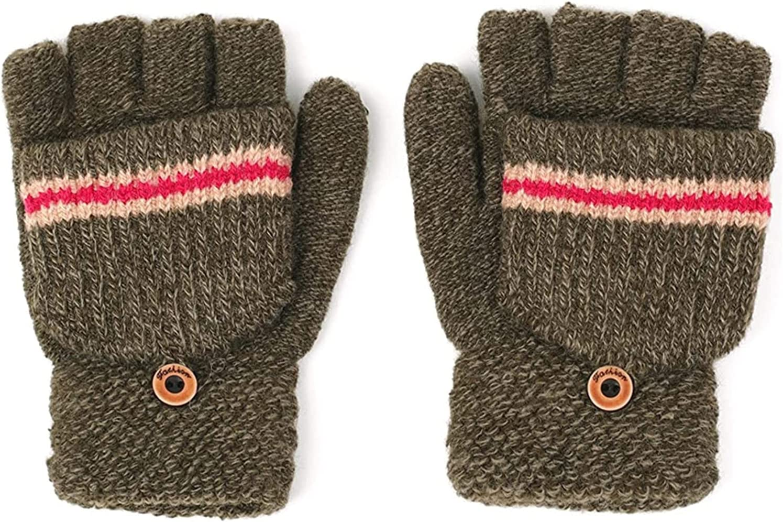 YSJJSQZ Winter Gloves Stripe Boy's Convertible Fingerless Gloves Warm Knitted Flip Top Mittens Winter Kids Gloves Baby Accessories (Color : Khaki)