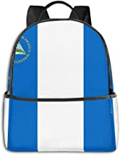 Moda Durable Unisex Mochila, Resistente al Agua Anti Robo computadora portátil Bolsa Media Escuela Estudiante Bookbag Viaje Daypack – Bandera de Nicaragua
