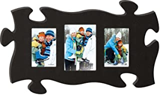 P. Graham Dunn Black 13 x 22 Wall Hanging Wood Puzzle Piece Photo Frame