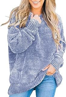 Flovey Women's Autumn Long Sleeve Crew Neck Chenille Velvet Chunky Knitted Oversized Pullover Sweater Top(S-3XL)