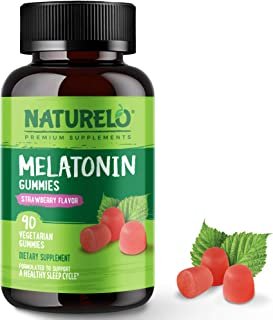 NATURELO Melatonin Gummies – Natural, Vegan, Non-GMO, Gluten-Free, Soy Free - Strawberry Flavor - Natural Sleep Supplement...