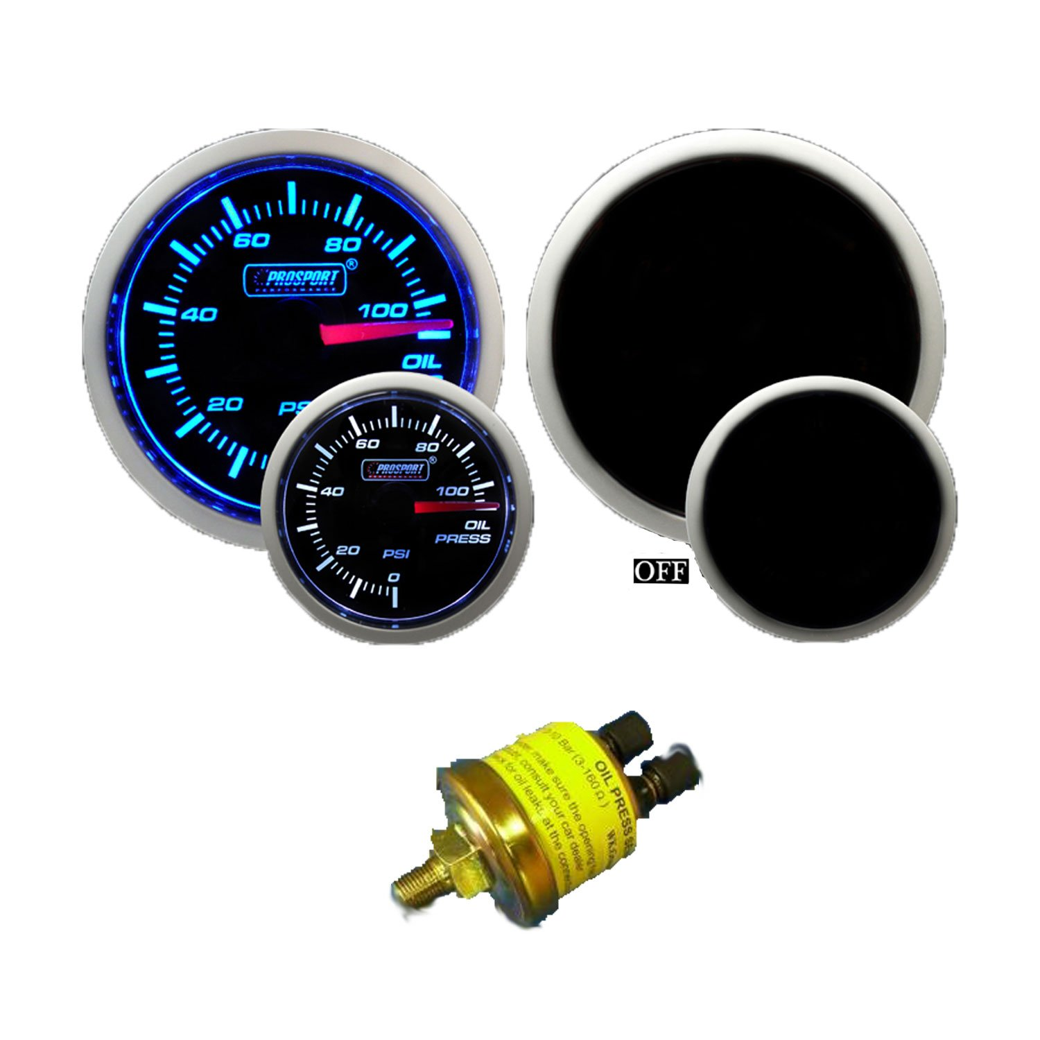 JEGS Performance Products 41430 Oil Pressure Gauge LED Digital 0 to 99 PSI 2-1//1