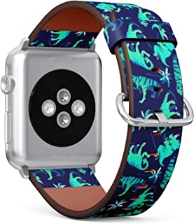 Compatible with Big Apple Watch 42mm & 44mm Leather Watch Wrist Band Strap Bracelet with Stainless Steel Clasp and Adapters (Dinosaurs Palm Trees)