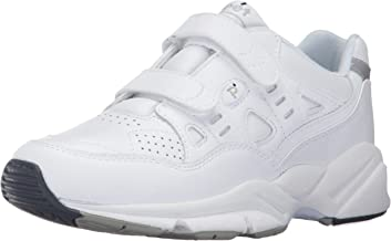 Propet Women's Stability Walker Strap Sneakers, White Leather, Polyurethane, EVA, Rubber, 10.5 M