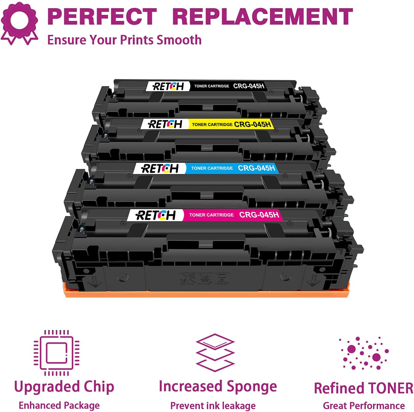 RETCH Compatible Toner Cartridges 045H Tray Replacement for Canon 045 045H CRG-045H for Canon Color ImageCLASS MF634Cdw MF634 634C MF632Cdw MF632C LBP612Cdw Printer (Black, Cyan, Magenta, Yellow)