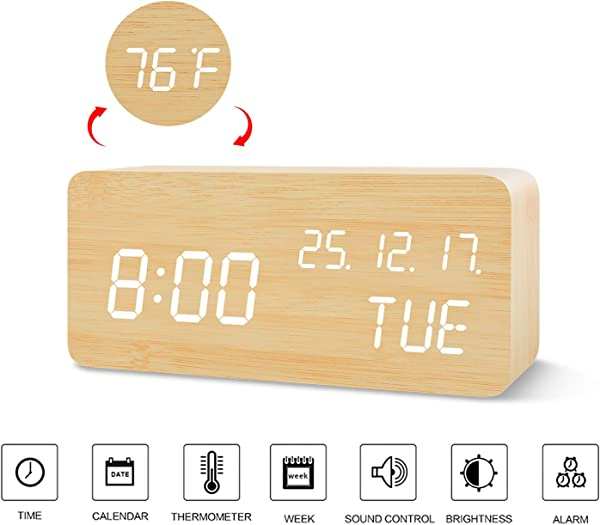 BlaCOG Digital Alarm Clock With Wooden Desk LED Time Week Date Month Year And Temperature Display Battery USB Powered 3 Alarm Settings Adjustable Brightness Bamboo White