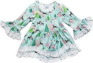 So Sydney Toddler Girls Boho Ruffle Crochet Lace Trim Flare Sleeve Dress