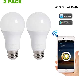 A19 Smart LED Bulb Dimmable WiFi Enable 80W Equivalent, 800LUM Compatible with Alexa Google Assistant (2 Pack)