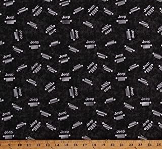 Cotton Jeeps Jeep Grille Logos Cars Sports Vehicles Logos Allover on Black Jeep in The Wild Cotton Fabric Print by The Yard (D514.10)