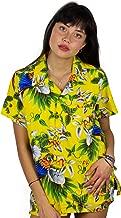 V.H.O. Funky Camisa Hawaiana con Blusa Mujer de Manga Corta con Bolsillo en la Parte Delantera Corte de Novio Camiseta Hawaiana Cherry Parrot Unisex