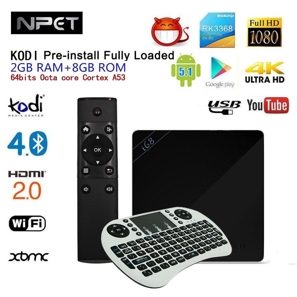 npet K7004 Android 5.1 televisor TV Box con teclado RK3368 64Bits Octa Core Cortex A53 2 G/8 G Kodi/XBMC/Miracast/DLNA WiFi Mini PC Smart Media Player Negro: Amazon.es: Electrónica