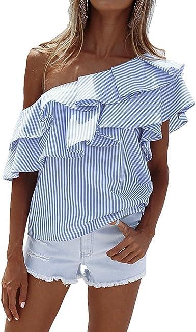 Camisetas de Rayas Mujer Blusas Sin Tirantes Hombros Descubiertos Básica Tops Moda Casual T Shirt Manga Corta Verano Pullover Tunica para Playa – ...