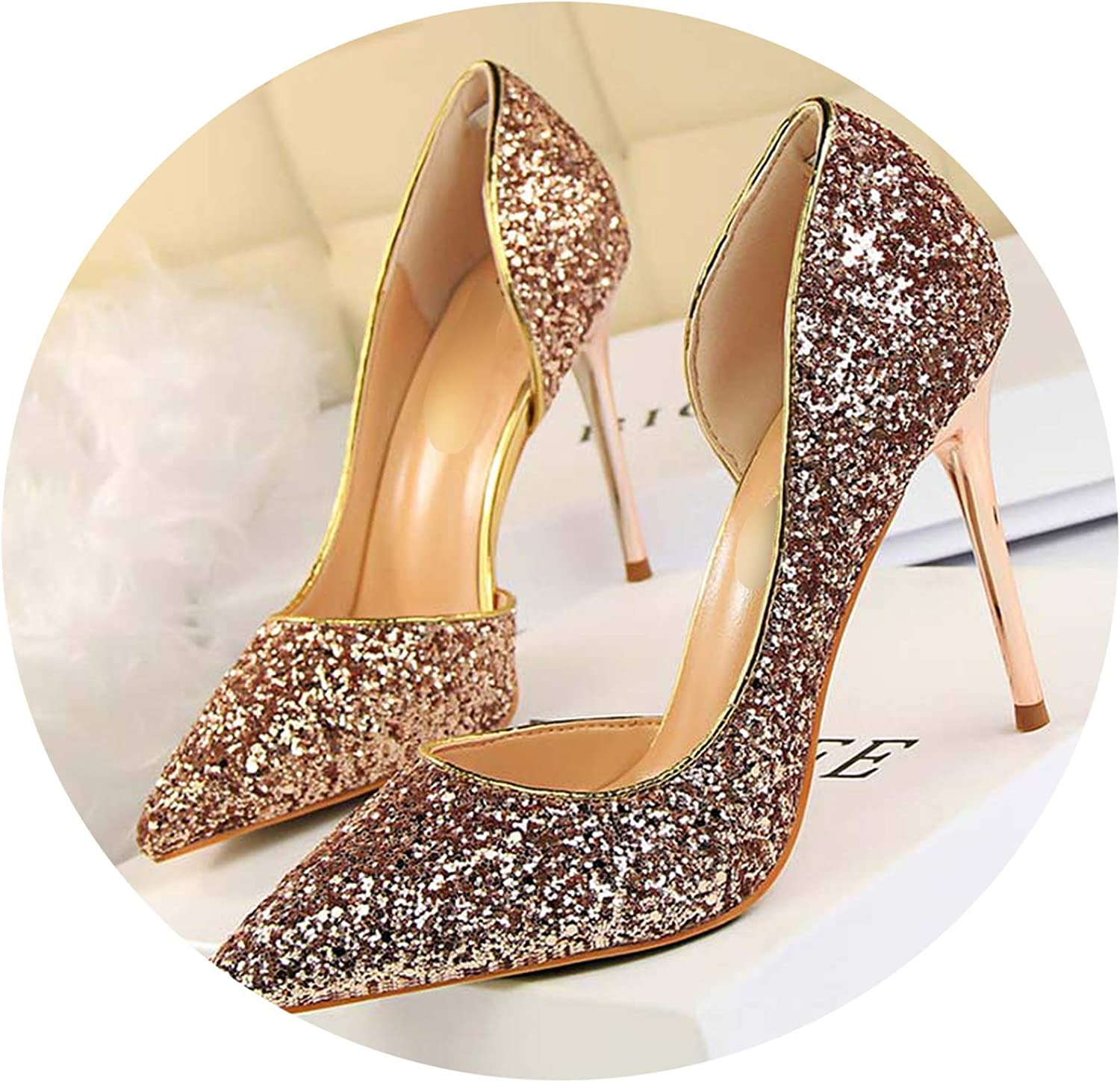 2019 Women Pumps High Thin Heel Pointed Toe Sexy Ladies Bling Bridal Wedding shoes gold High Heels