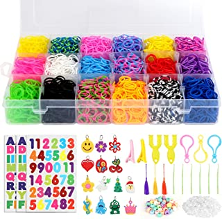 7100+ Rainbow Rubber Bands Kit for Bracelets, Loom Rubber Bands Refill Set, Includes 6500 Loom Bands + 6 Crochet Hooks + 600 Clips +3 Backpack Hook + 50 Beads + 14 Charms + 2 Hair Clips + 3 Tassels