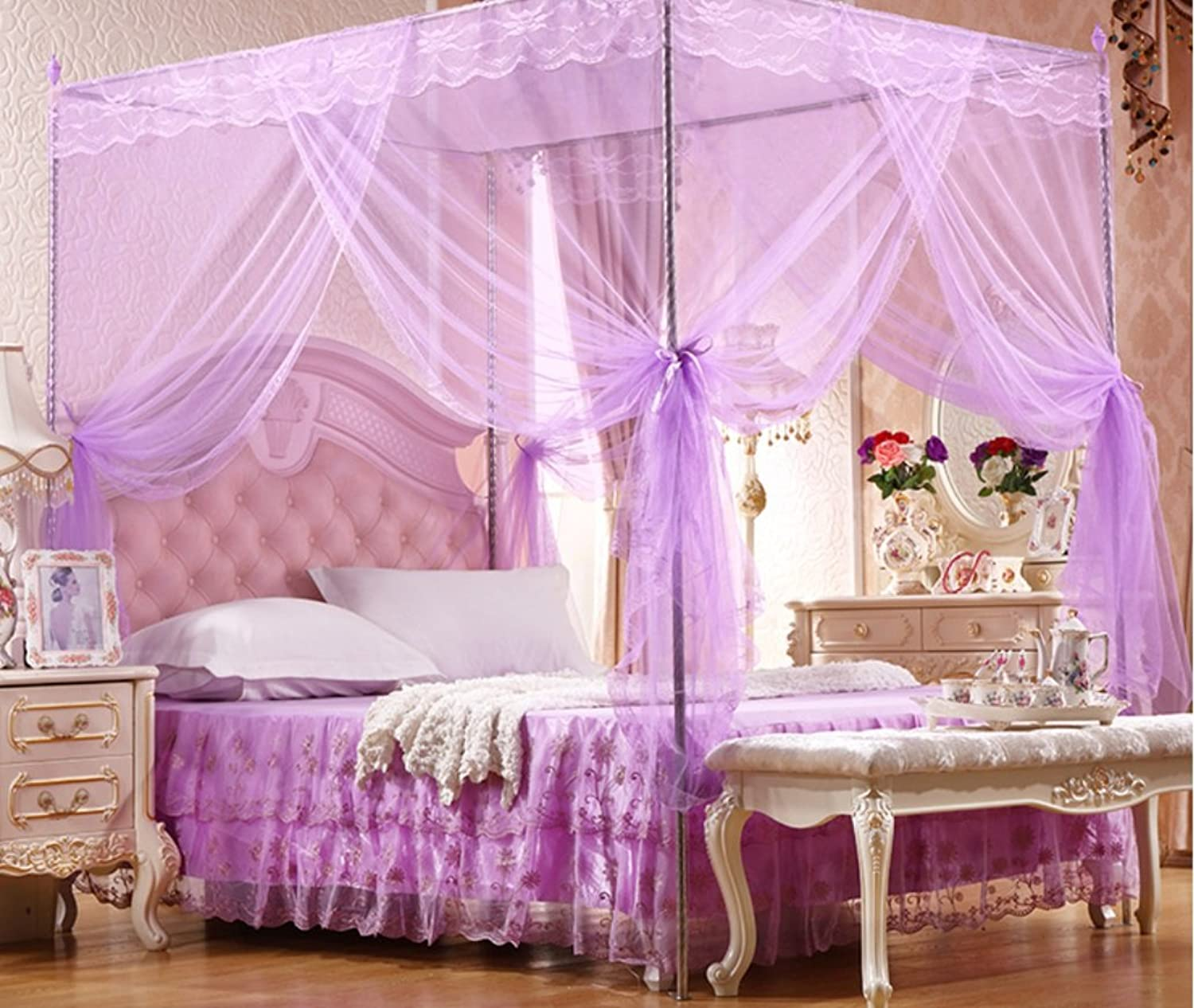 Palace Nets Encrypted Account Yarn Stainless Steel Floor Stand Three Door Mosquito Nets ZXCV (color   Purple, Size   135x200x200 (20  Bracket))