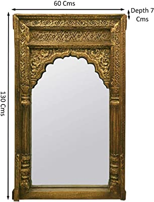 THD The Home Dekor Aura Hand Carved Mirror, Golden Finish