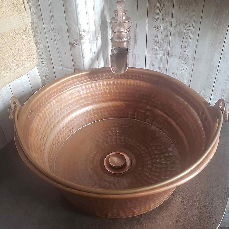 Buy Rustic Fire Burned Vintage Patina Bucket Vessel Pure Copper Bath Kitchen Sink Bathroom Renewal Rehab Interior Design Wash Basin Washbasin Hand Hammered Washbowl Online In Germany B07tbtgyp2