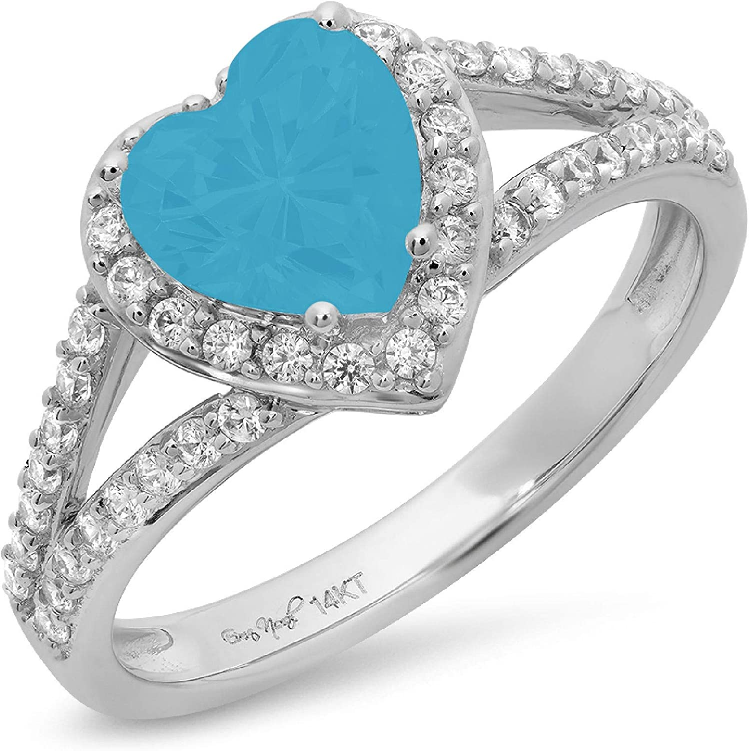 1.75 ct Heart Cut Solitaire Accent Halo split shank Genuine Flawless Simulated Turquoise Gemstone Engagement Promise Statement Anniversary Bridal Wedding Ring Solid 18K White Gold