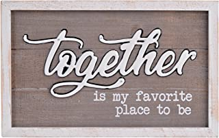 NIKKY HOME 10 x 16 Inches Together is My Favorite Place to Be Framed Wooden Wall Plaque