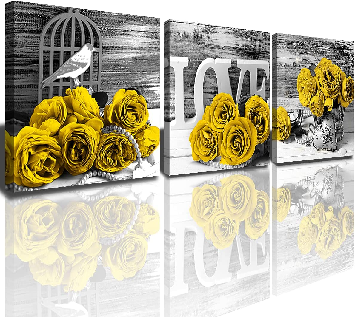 Yellow Rose Decor Bedroom Wall Art Black and White Flowers Canvas Prints 3Pcs/Sets Living Room Kitchen Home Decoration Modern Framed Floral Plant Pictures Painting 12 x 12