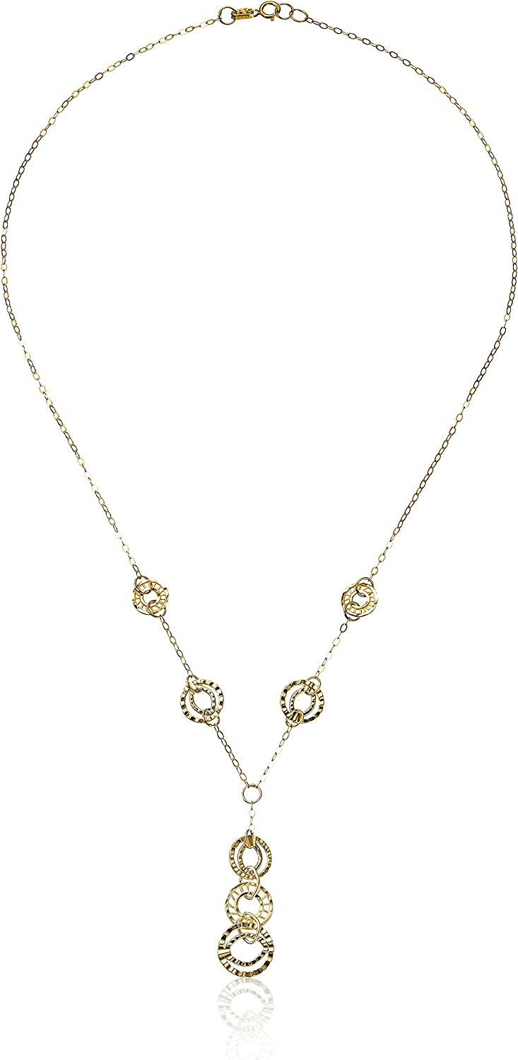 14k Yellow Gold Italian Multi-Circles Station Y-Shaped Necklace, 18