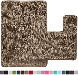 Beau Gorilla Grip Original Shaggy Chenille 2 Piece Bath Rug Set, 19x19 Square  U Shape