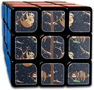 Winter Snow Funny Sloth Tree Marvellous Speed Cube 3x3 Smooth Magic Square Puzzle Game Black