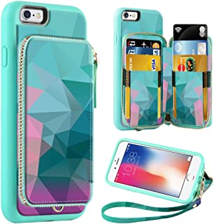 ZVE Wallet Case for Apple iPhone 6 Plus and iPhone 6s Plus, 5.5 inch, Zipper Wallet Case with Credit Card Holder Slot Handbag Purse Print Cover for Apple iPhone 6 / 6s Plus 5.5 inch - Diamond