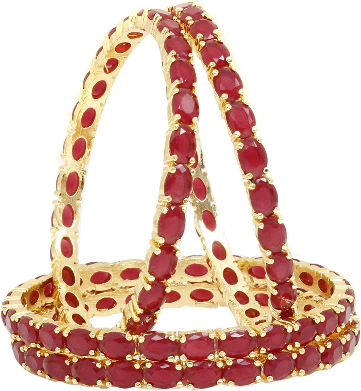 Sukh Collection Jewellery Indian Exclusive Fashionable Beautiful Gold Tone Ruby 4 Pcs American Diamond Made Bangle Bracelets Traditional Women Wedding Party wear Bangles Bridal Bollywood Jewelry