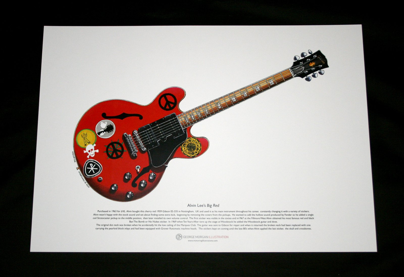 George Morgan Illustration Art Cartel de Gibson ES-335 Rojo Grande ...