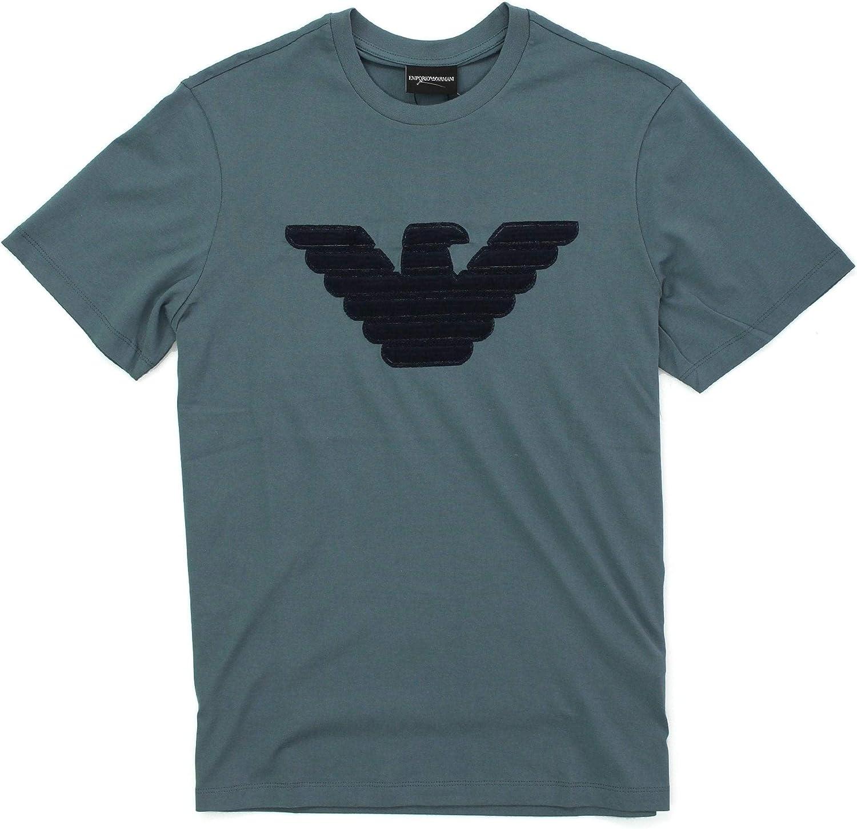 Emporio Armani Camiseta azul con logotipo de viscosa cosido ...